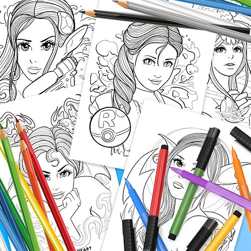 Poke-Babes Downloadable Colouring Pages
