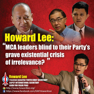 MCA Youth Chief blind to his Party's grave existential crisis of irrelevance?