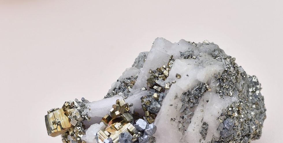 Chalcopyrite Quartz w. Pink Mangano Calcite + Cubic Pyrite + Galena