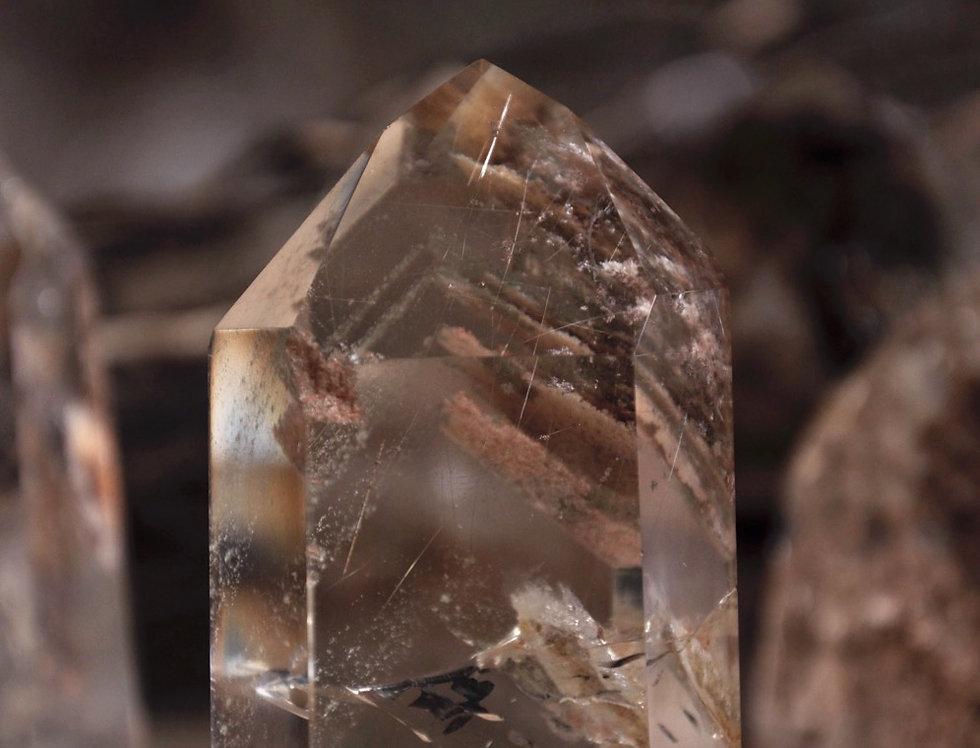 Chlorite Phantom Quartz w. Lodolite + Silver Rutile