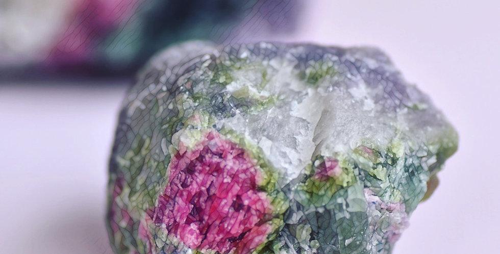 Pink + Green Tourmaline w. Lepidolite