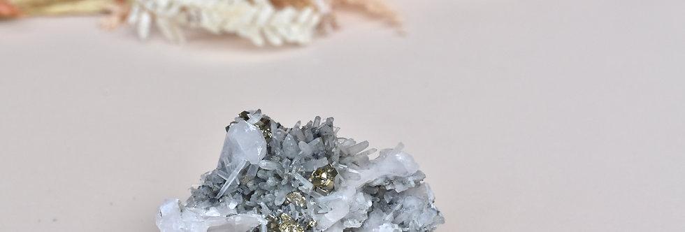 Quartz w. Cubic Pyrite + Galena