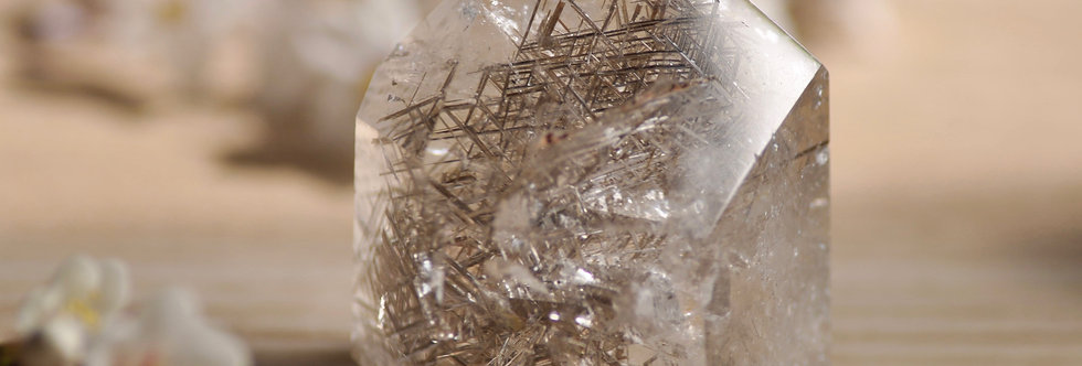 Optical Quartz w. Sagenite Rutile