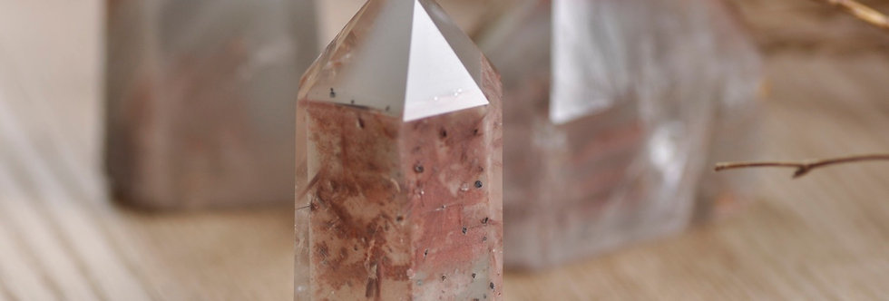 Grey + Pink Lithium Phantom Quartz