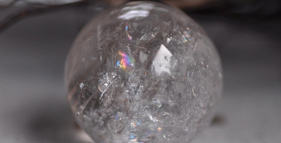 Rainbow Quartz Sphere w. Rose Gold Rutile