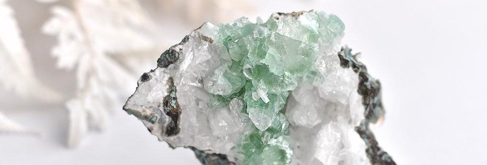 Green Apophyllite + White Stilbite