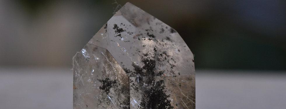 Black Chlorite Quartz w. Silver Rutile