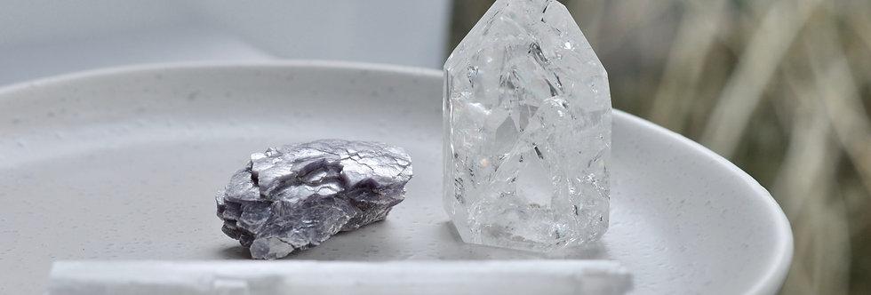 Serenity + Deep Calm - Lepidolite, Selenite + Rainbow Quartz