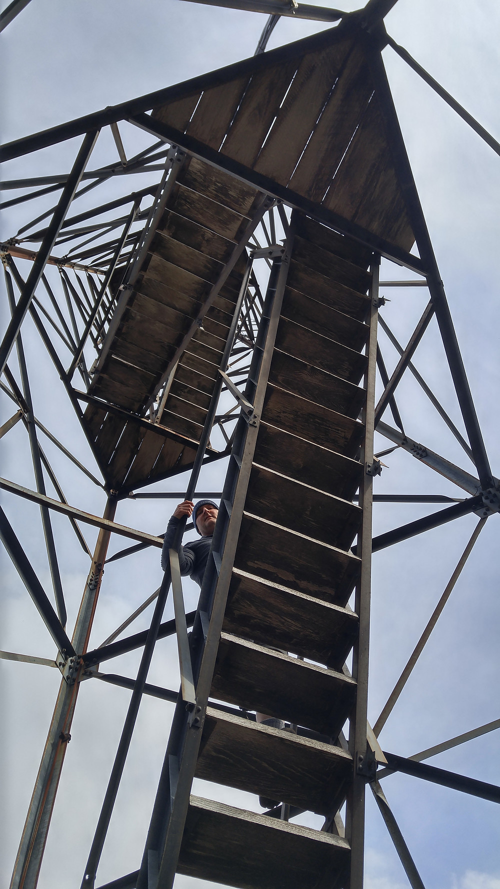 Daniel climbing the (sketchy!) firetower