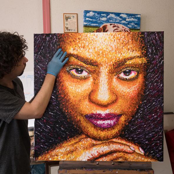 Portrait Jeune femme - Huile sur toile - 80x80 cm - 2018