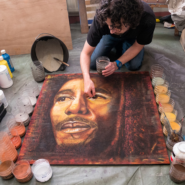 Portrait Bob Marley - tableau de Sable et acrylique - 80x80cm - 2015