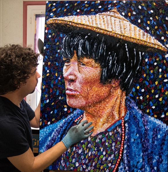 Portrait d'une femme du Bhoutan - Huile sur toile - 100x73 cm - 2017