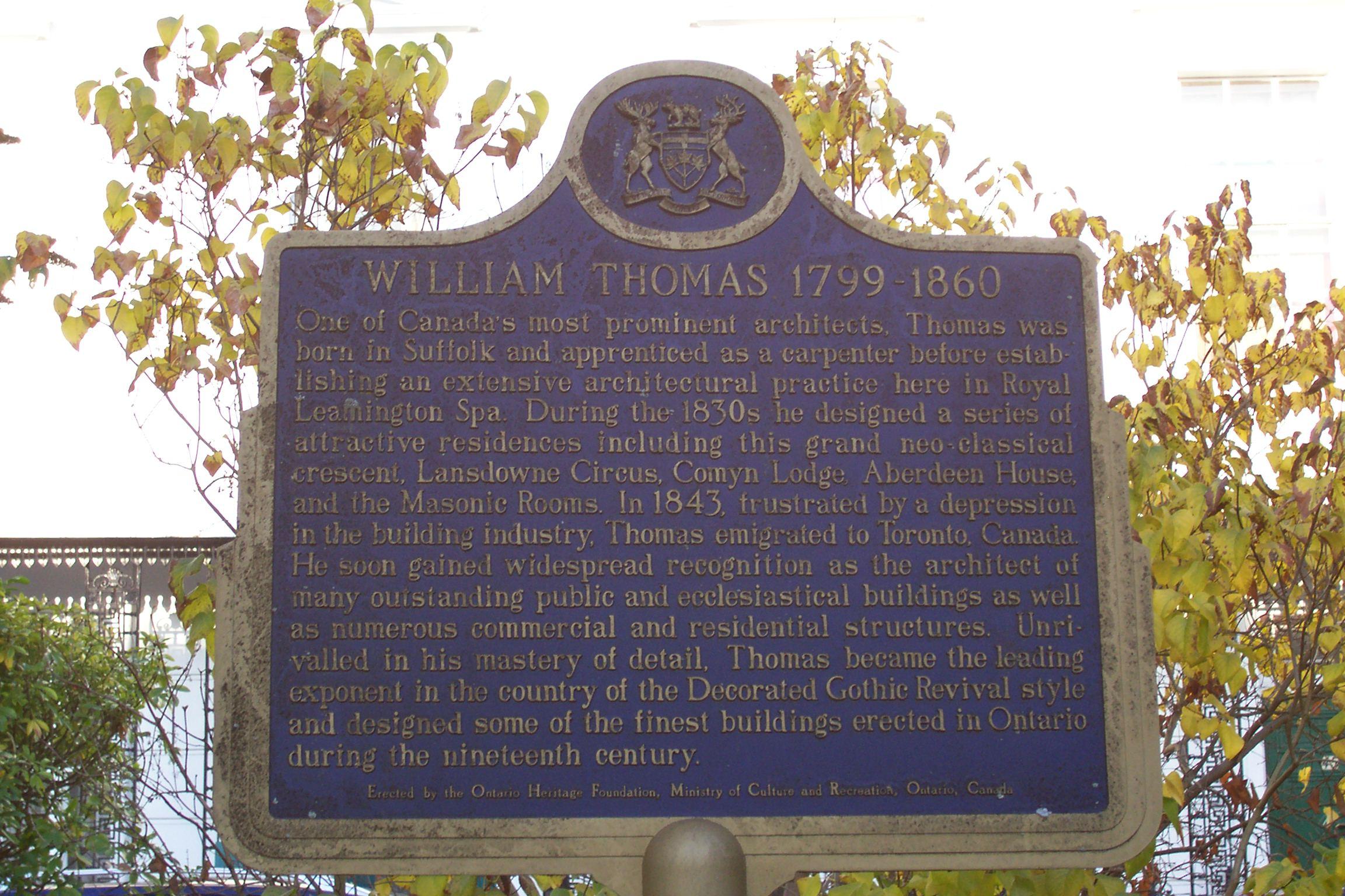 William Thomas plaque