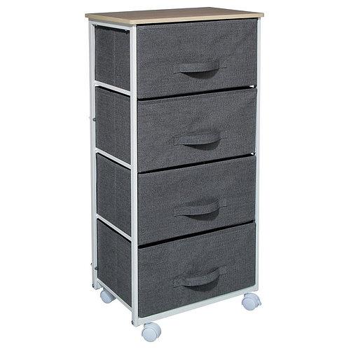 Schrank mit vier Schubladen, Textilschrank mit dekorativer Platte, dunkelgrau
