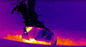 FLIR Infrared Camera image of can exploding from Fresnel Lens