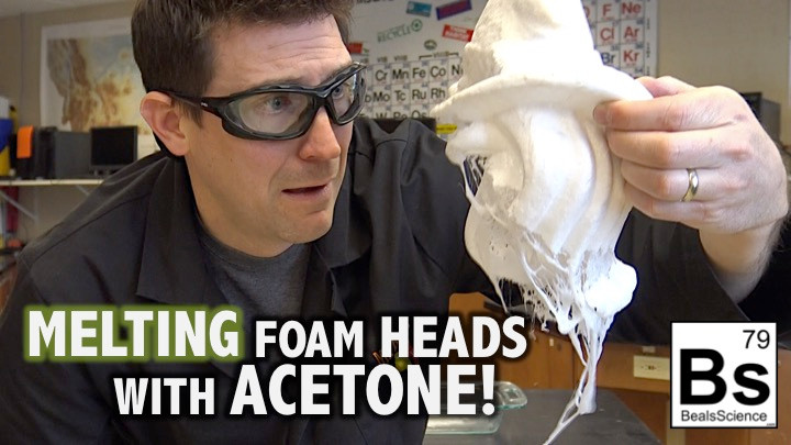 Watch acetone melt styrofoam into a liquid mess