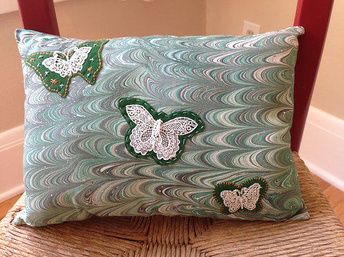 Butterfly Marbled Pillow in Greens Item #1406