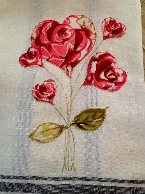 Rose Hearts Tea Towel