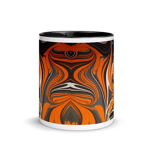 Mug with Marbling in Orange, Black with Black Color Inside