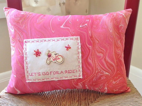 Let's Go For a Ride Marbled Pillow  Item #1403