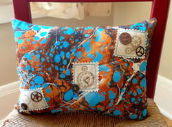 Time marbled pillow in stone pattern