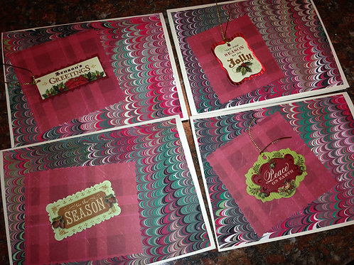 Red Marbled Christmas Card Set  Item #1355