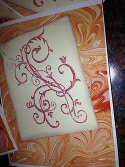 Card set of swirled marble pattern