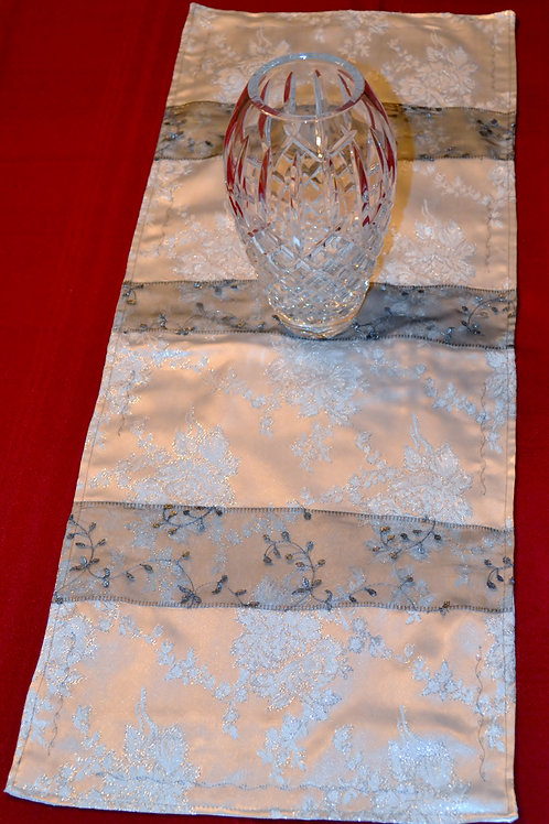 Silver Lace White Satin Runner Item #1346