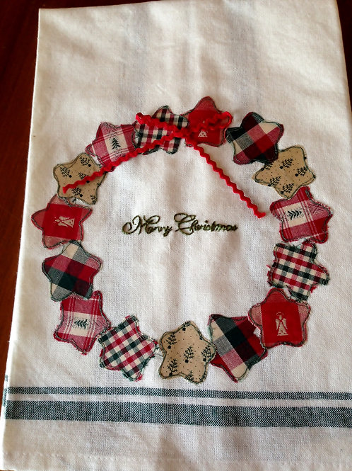 Merry Christmas Wreath Tea Towel Item #1412
