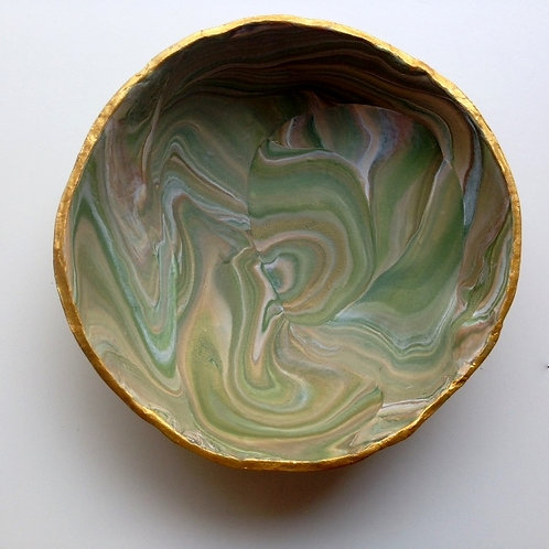 Marbled Clay Bowl - Green Swirls