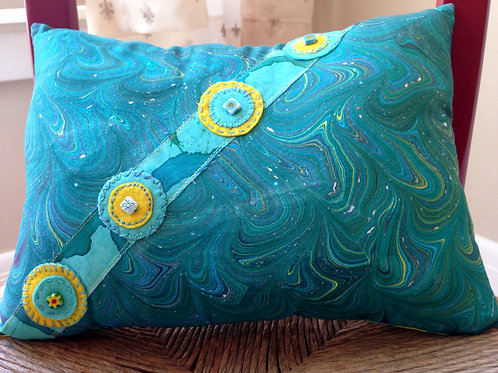 Peacock Blue Marbled Pillow  Item #1404