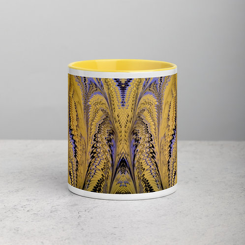 Yellow & Blue Marbled Mug with Yellow Color Inside