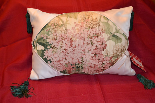 Hydrangea in White Satin Pillow  Item #1332
