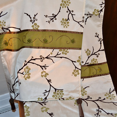 Asian Table Runner in Olive Green Item #1350