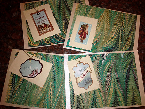 Green Christmas Marbled Card Set Item #1356