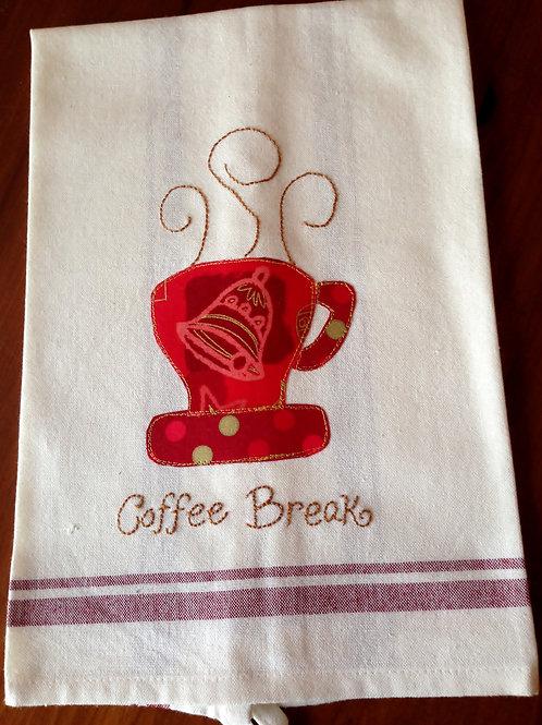 Coffee Break Christmas Tea Towel Item #1407