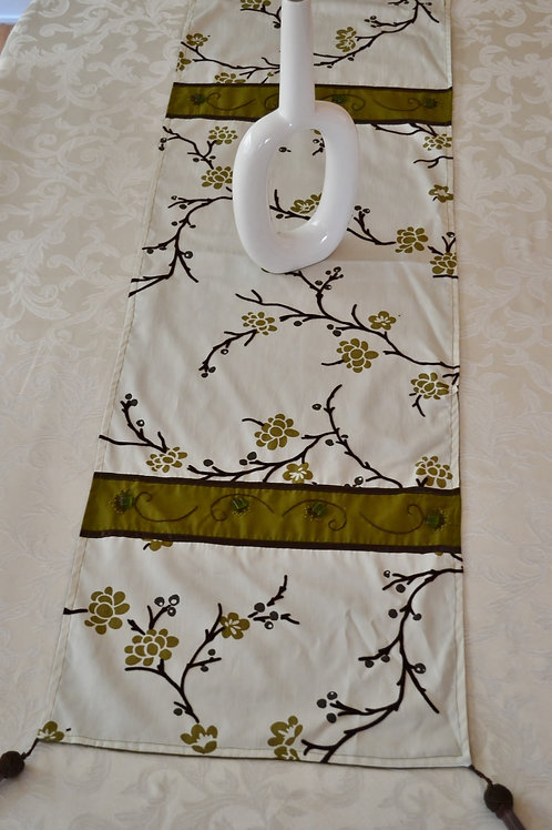 Asian Table Runner in Olive Green Item #1351