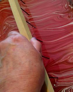 Raking pink, purple, white and red
