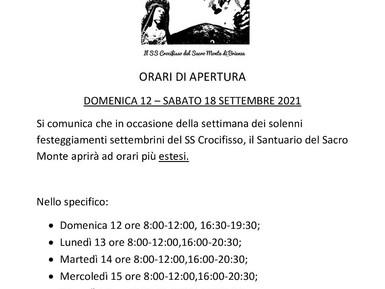 ORARI DI APERTURA SANTUARIO DEL SS CROCIFISSO DEL SACRO MONTE DI BRIENZA 12-18 SETTEMBRE 2021