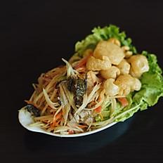 H13 - Salade Tam Sum aux crabe salé et crevette séchée