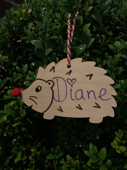 Personalised Hedgehog Christmas Tree Decoration