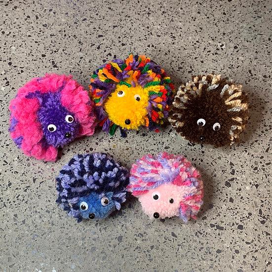 Fuzzy Pom Pom Hedgehogs