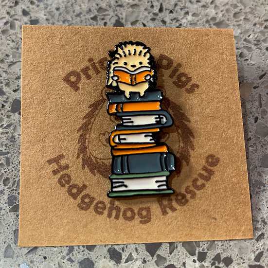 Hedgehog on Books - Pin Badge