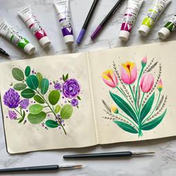 Gouache Studies of Flowers