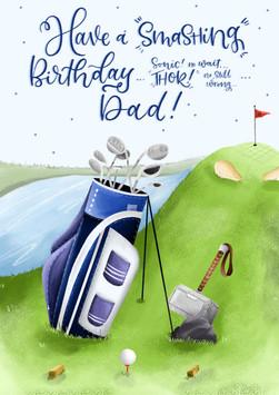 """THOR!!"" - Golf Pun Birthday Card"
