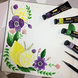 Gouache Lemons and Violets