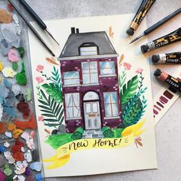 Gouache House Illustration