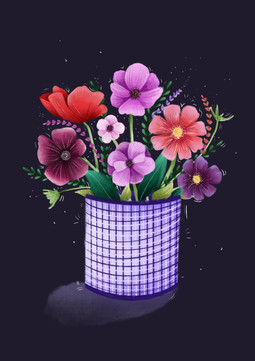 Flowers in a Gingham Can