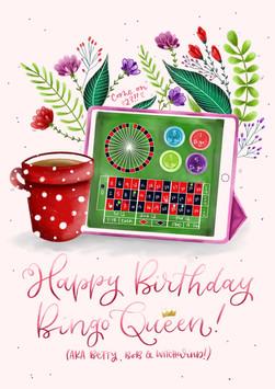 Bingo and Florals Birthday Card