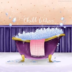 Chill Time Bathtub Print
